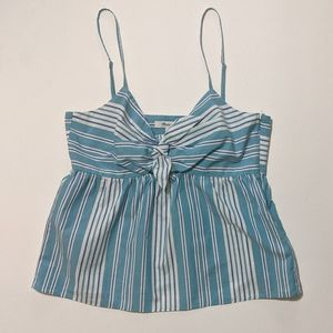 NWT Madewell Striped Tie Front Key Hole Cami Top